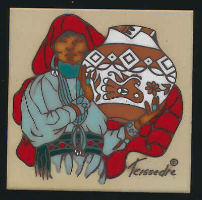 Cleo Teissedre Hand Painted Ceramic Art Tile Native American SouthWestern Decor