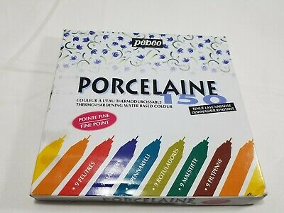 Pebeo Porcelaine 150, China Paint Fine Tip .7MM Marker 9-PACK ASSORTED COLOR NEW