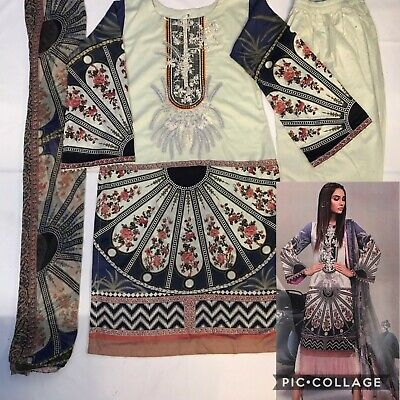 7f8d186be0 Designer Sana Safinaz Inspired Embroidered Pakistani/Indian Party Wear Lawn  Suit