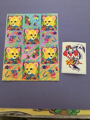 Vtg Sticker Lot Lisa Frank Unicorn Clown Mod Lot 1984 80s Lion Cub Gecko Sheet