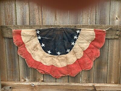 Primitive Farmhouse Americana Distressed and Aged Flag Bunting on Old Fencewood