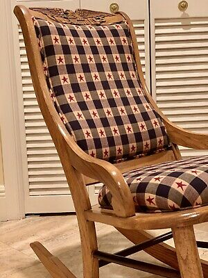 Antique Americana Solid Oak Childs Rocking Chair- Refinished & Reupholstered