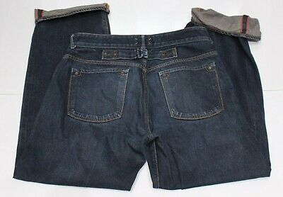 Vintage Union Made Mens 34x33 Stronghold Selvedge jeans cinch back red line fade