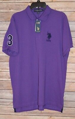 Mens Us Polo Assn Purple Polo Shirt Embroidered Logo & #3 On Sleeve Uspa Size: L