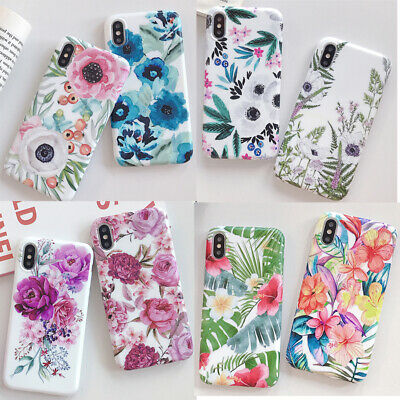 Cute Leaves Flowers Pattern Soft Case Cover for iPhone XR XS Max 7 8 6s 6 plus