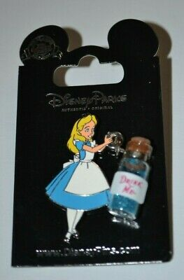 Disney Parks Alice W/Drink Me Bottle Pin New On Card (Alice In Wonderland)
