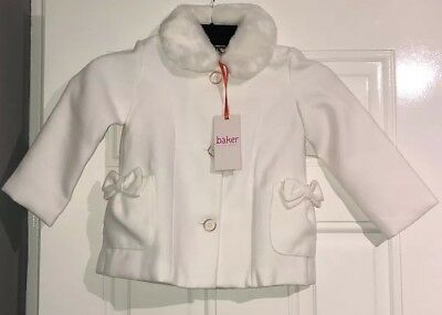 Ted Baker Girls white faux fur trim coat Age 3-4 BNWT
