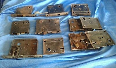 Vintage Antique Junk Drawer Door Hardware Pieces Lot Pocket Locks Salvage #7