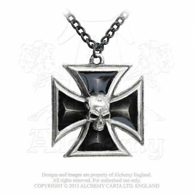 """Large Black Ornate Medieval Victorian Cross Black Ribbon Cord Necklace Gothic18/"""""""