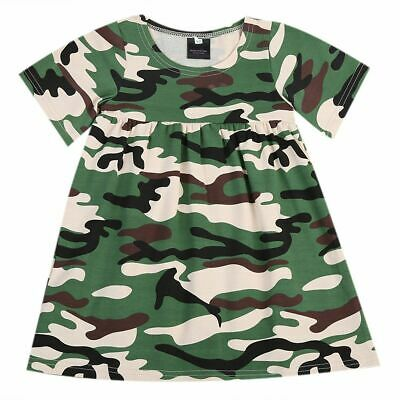 Baby Dress Kids Girls Toddler Army Green Camouflage Casual Short Sleeves Loose