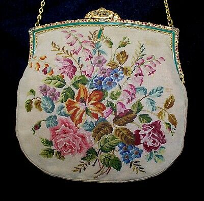 Antique French Embroidered Micro Petit Point Purse Jeweled Enameled Brass Frame