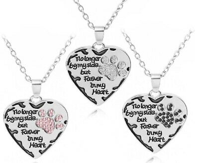 Silver Diamante Necklace Dog Cat Remembrance Forever In My Heart Pet Pink Black