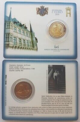 2 euro 2019 Luxembourg 100th anniversary Charlotte in coincard mintmark Lion
