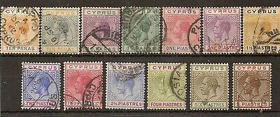 CYPRUS 1921-23 KGV WMK SCRIPT SET TO 9pi SG85/97 USED