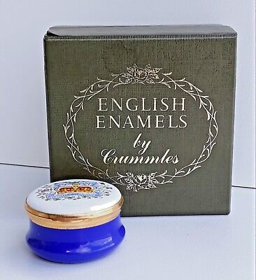 Vintage English Enamels by Crummles Royal Commemorative Boxed Container Nice