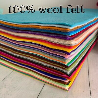 100% wool felt sheets 20cmx 29cm - Top quality Wool Felt - 65 fab colours