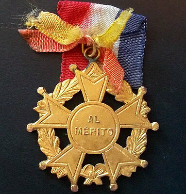 Antique Catholic Star To Merit Education Prize With Ribbon France & Rome Flags