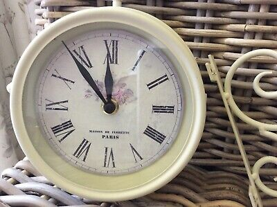 French Antique Style Cream Metal Indoor Outdoor Double Sided Bracket Clock
