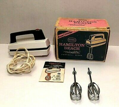 Hamilton Beach Model 75 Portable Hand Mixer VINTAGE Original Box W/ Manual WORKS