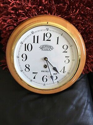 Seiko Station Clock Brass /wood Very Nice
