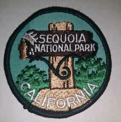Sequoia National Park California Entrance Sign Post Round Embroidered Patch
