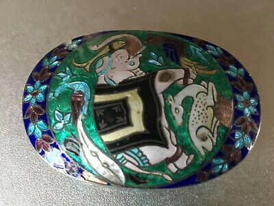 Antique/ Vintage Asian Oriental Cloisonné Enamel Sterling Silver Case Box 47G