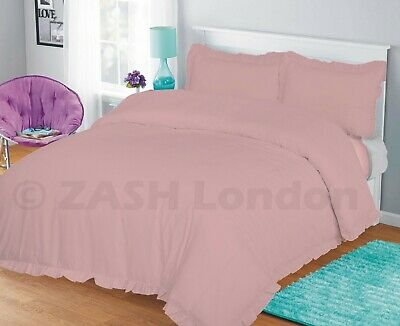 Baby Pink Frilled Duvet Set Plain Dyed Poly Cotton Quilt Cover and Pillow Cases