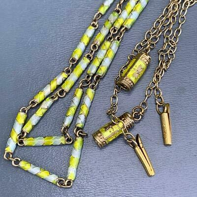 Vintage Chinese Gold Gilt Silver Enamel Tubular beaded Chain Necklace -lot of 2