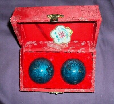 Chinese - Relaxation Balls - Stress Relief - Red Box - Turquoise Balls