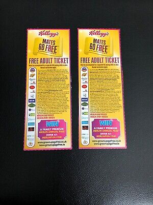 x2 Kelloggs Adults Go Free Ticket/Voucher/Coupon Merlin Parks