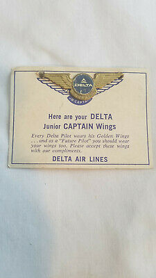 VINTAGE DELTA AIRLINES Jr Captain Wings - Enamel Metal Pin with Pin