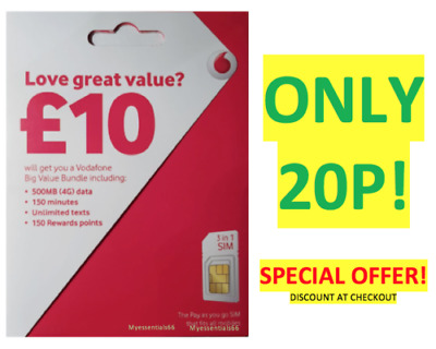 VODAFONE NANO SIM Card Pay As You Go For iPhone 5 5s and