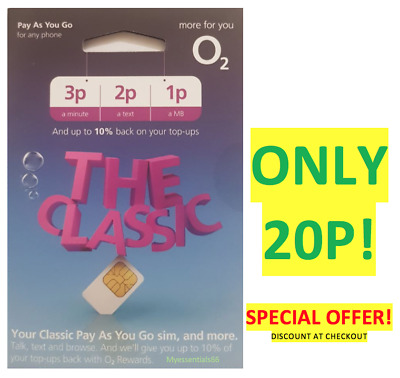 O2 02 Sim Card Classic Pay As You Go 3p /2p/1p Standard Micro Nano NEW ONLY 20P