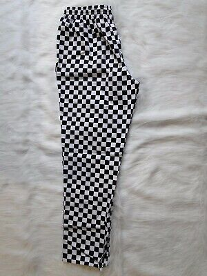 Print Black/White Check Drawstring Chef Pants Polyester/cotton