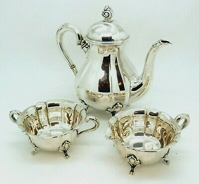 Stunning Norwegian Solid Silver 830 Tea or Coffee Service c1930 675g
