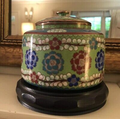 Chinese Cloisonne Enamel Green Multi Color Floral Old Canister Jar Box With Lid
