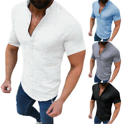 Mens Linen Slim Fit Muscle Shirts Short Sleeve Casual Henley T-shirt Tops Blouse