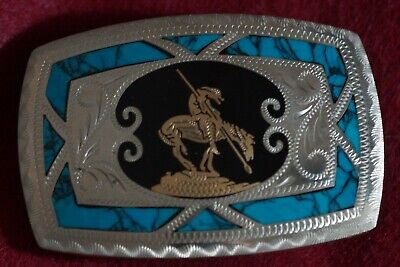 Vtg. Johnson & Held End Of The Trail Turquoise & Oynx Buckle Mint Cond. ( look )