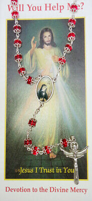 Rosary Divine Mercy Chaplet Beads St Faustina Silver Red Christian Catholic