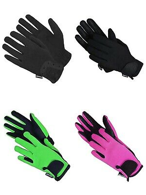 Horse Riding Gloves Equestrian Ladies Mens Childrens Pony Gloves Fabric Leather