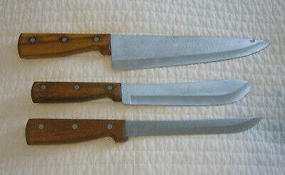 Hickory Hill Forge Lot Of 3 Vintage Kitchen Knives Chefs Carving Butcher 14 88 Picclick