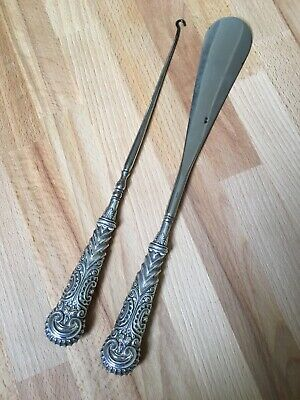 Large Antique solid silver handled matching shoe horn and button hook