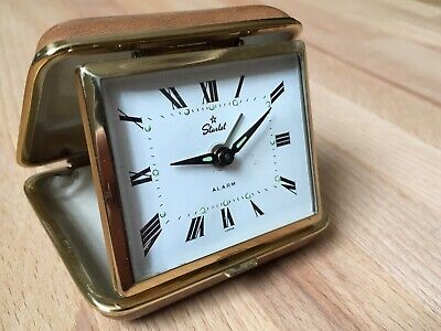 Vintage Starlet Travel Folding Alarm Clock - WORKING Japan Manual Wind Movement