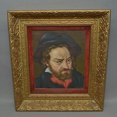 Framed European Oil Painting on Canvas Portrait of Bearded Man Red Scarf signed