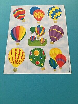 2000 Hot Air Balloons Clouds Paper Magic Sticker Sheet Colorful