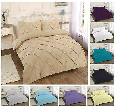 Pintuck Duvet Quilt Cover Pinch Pleat Bedding Set Pillowcase SIngle Double King