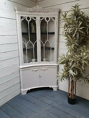 Elegant Vintage Painted French Style Display Corner Cabinet/Bookcase Shabby Chic