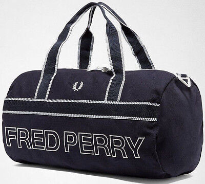 Fred Perry 2019 Blue Sports Canvas Barrel Bag Duffle Gym School Carry Backpack