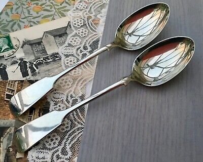 WILLIAM BRIGGS & CO FIDDLE DESSERT SPOONS SET x2 ANTIQUE CUTLERY SHEFFIELD c1890