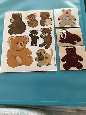 Vtg Personal Expressions Fuzzy Bears Heart Walrus Dennison New York Stickers Lot
